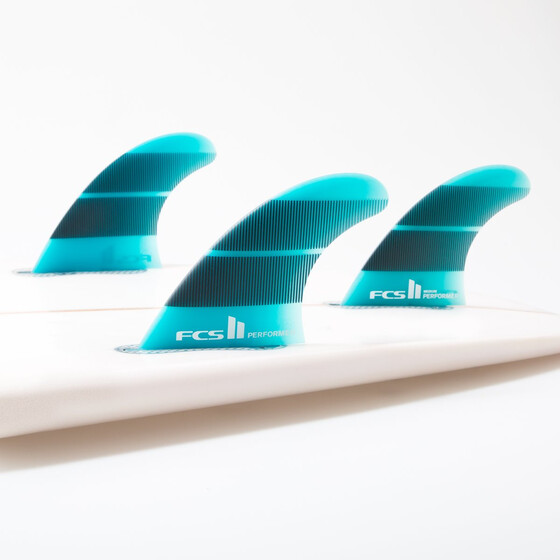 FCS II Performer Neo Glass Large Teal Gradient Tri Fins